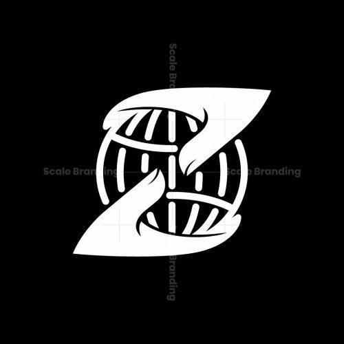 Letter Z Or N World In Hands Logo