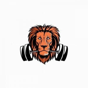 Lion Mascot With Barbell Logo