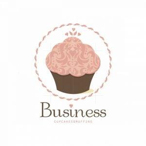 Pink Cupcake Decoration Art Symbol Logo