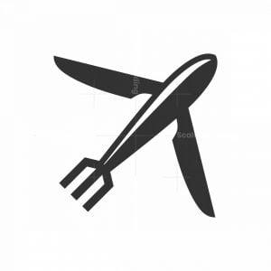 Plane Eat Food Restaurant Logo