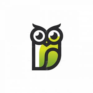 Owl Wise Logo Line Green Gradient