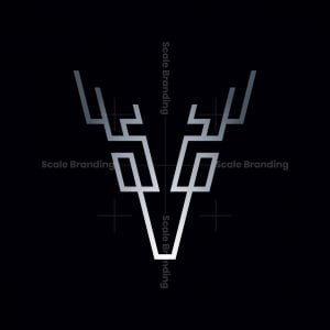 Abstract Deer Letter V Logo