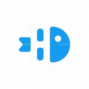 Funny Letter H Fishbone Logo