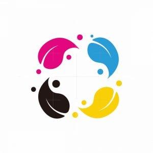 Cmyk Color Of Leaf Logo