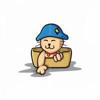 Litter Box Cat Mascot Logo
