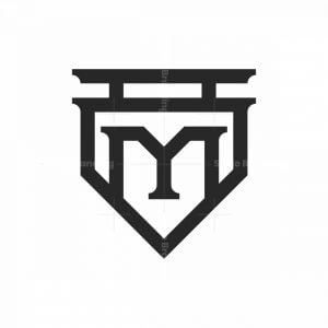 Abstract Letter M Shield Logo