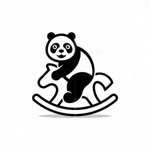 Cute Panda On Rocking Horse Logo