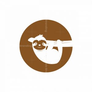Cute Sloth Negative Space Logo