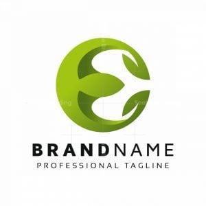 E Letter Leaves Logo