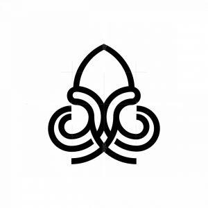 Elegant Lineart Squid Logo