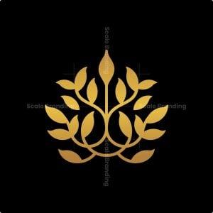 Golden Nature Leaf Logo