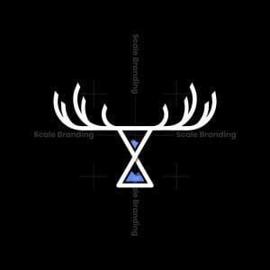 Hourglass Deer Antlers Logo