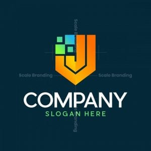 Letter J Shield Pixel Logo