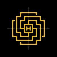 Letter H Golden Maze Ornament Logo