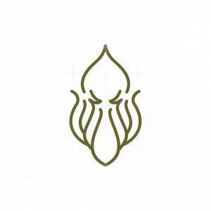 Minimalist Lineart Squid Logo
