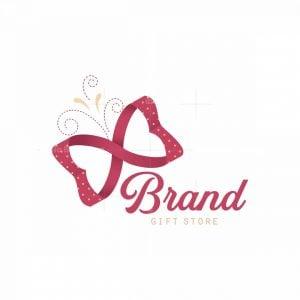 Ribbon Butterfly Gift Shop Symbol Logo