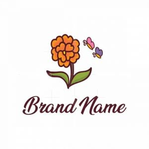 Flower And Butterflies Logo