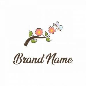 Flowers And Butterflies Logo