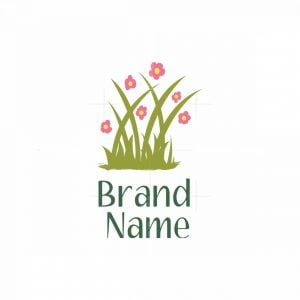 Green Grass And Flowers Logo