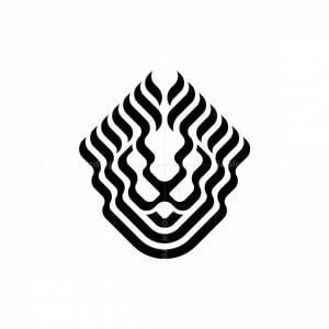 Stylish Stripe Lines Lion Head Logo