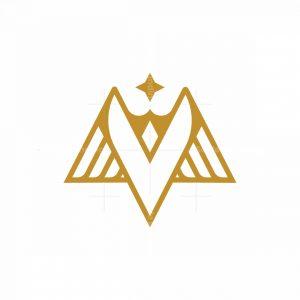 Letter V And Wings Bird Logo
