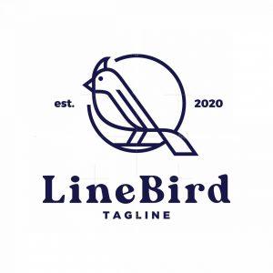 Vintage Outline Line Bird Logo