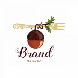 Acorn And Fork Restaurant Symbol Logo