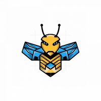 Bee Robotic Mascot Logo