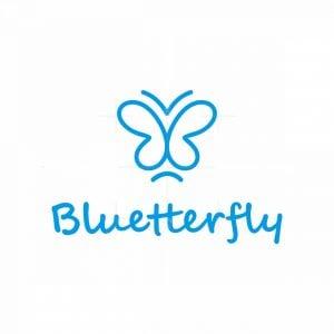 Minimal Blue Butterfly Logo