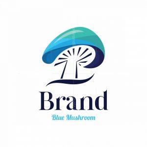 Blue Mushroom Symbol Logo