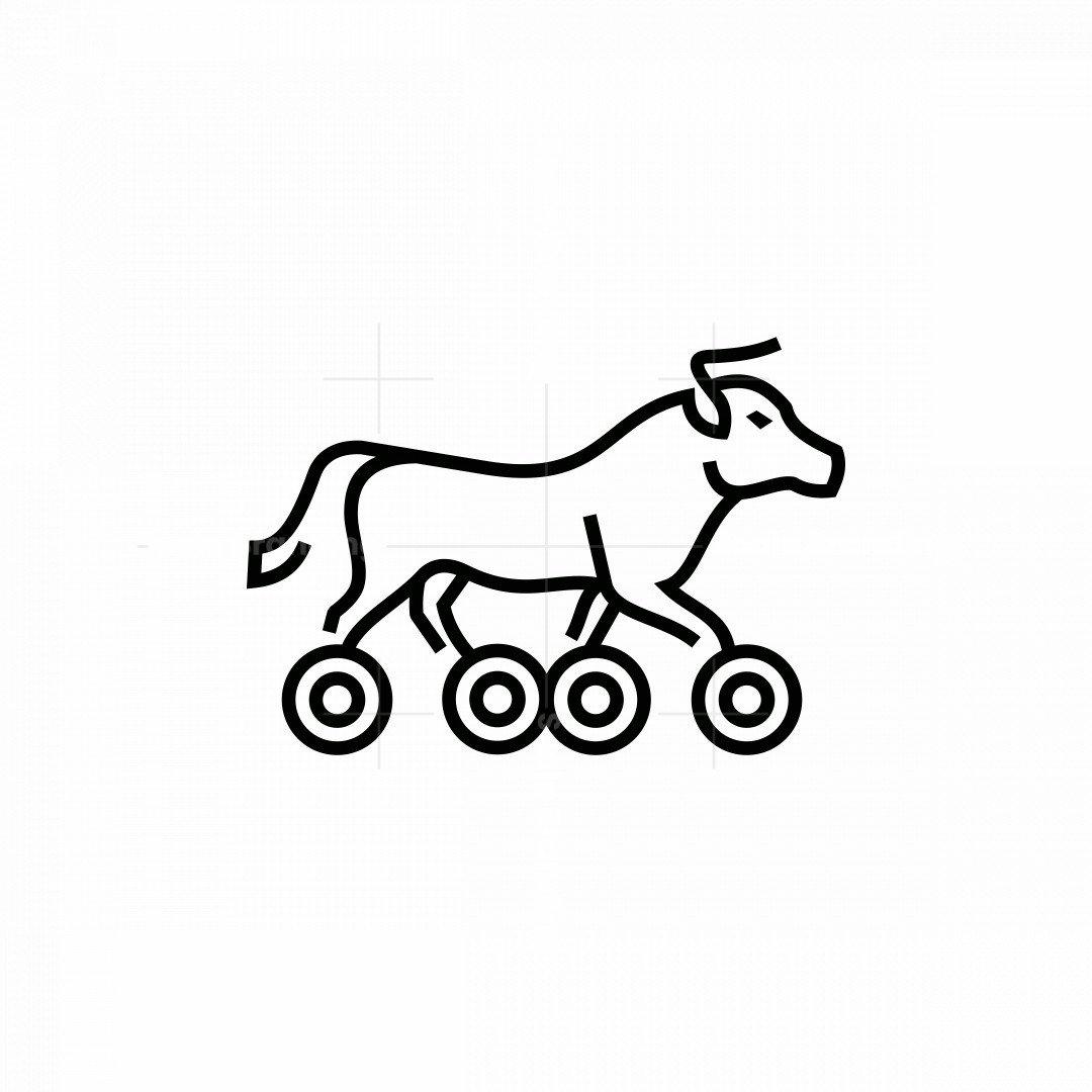 Bull With Wheels Icon Logo