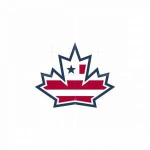 Maple Leaf With American Flag Icon Logo