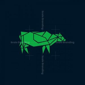 Geometric Origami Cow Icon Logo