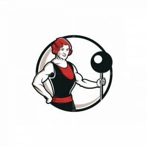 Retro Woman Bodybuilder Mascot Logo