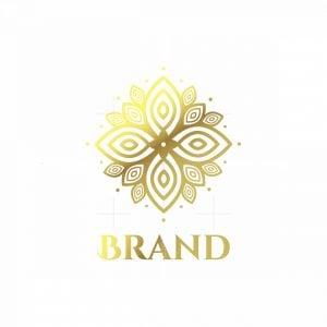 Golden Flower Symbol Logo