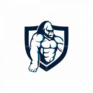 Bodybuilding Gorilla Mascot Shield Logo