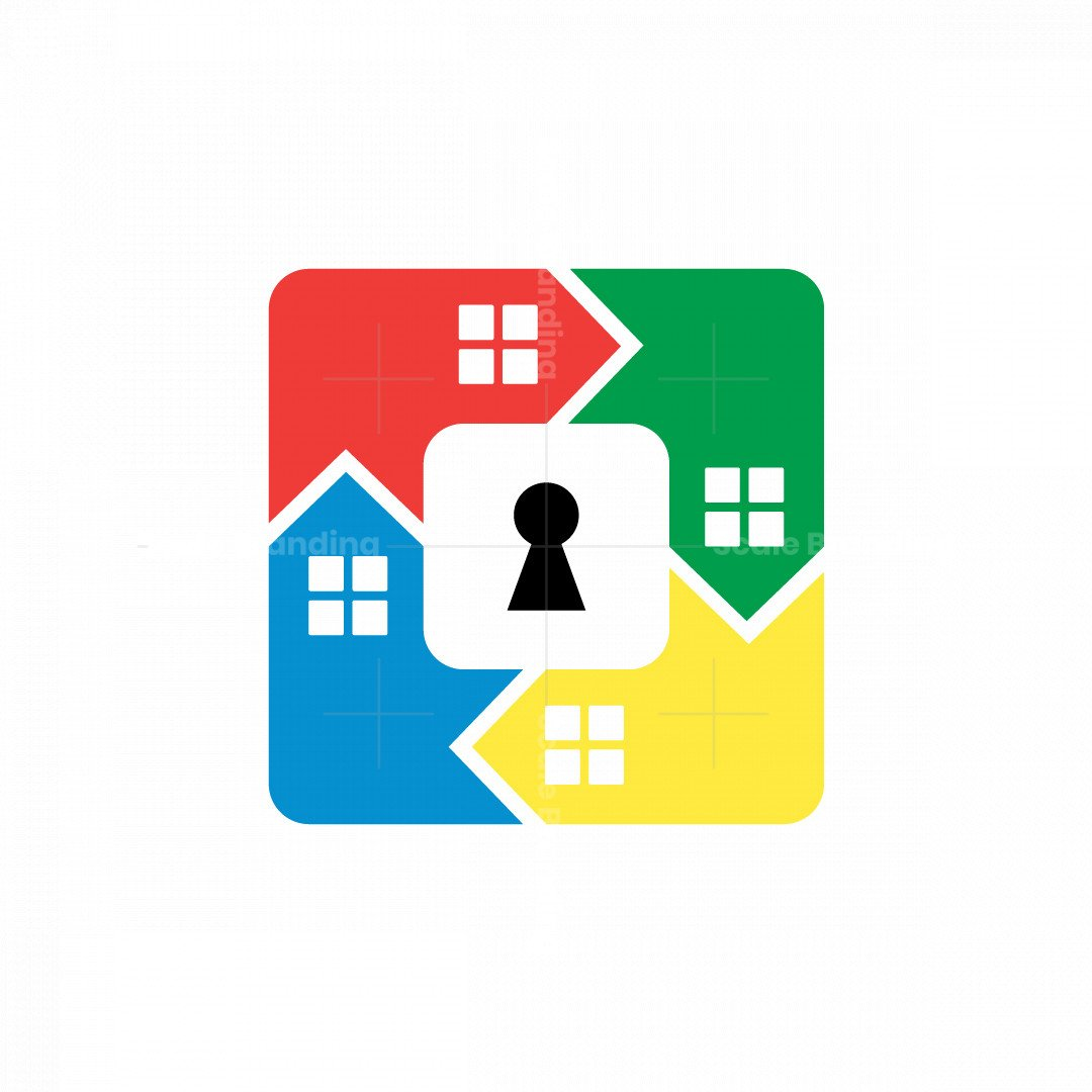 Colourful Houses And Security Key Logo