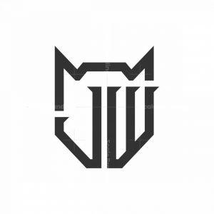 Jw Initial And Wolf Head Logo