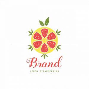Lemon Strawberries Symbol Logo