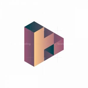 "Letter ""h"" 3d Isometric Pyramid Logo"