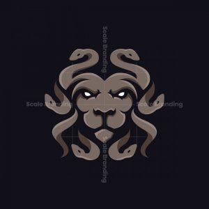 Lion Medusa Animal Logo