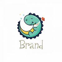 Little Dino Moon Symbol Logo