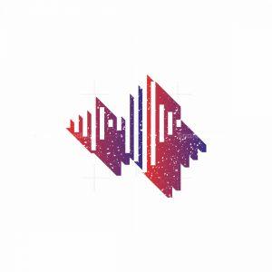 Louder Grunge Audio Wave Logo