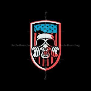 American Flag And Gas Mask Shield Logo