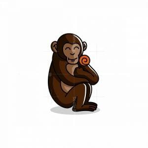 Monkey With Flower Mascot Logo