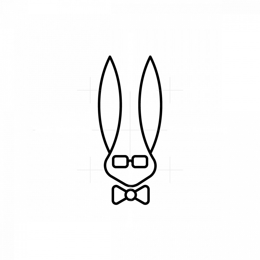 Nerdy And Geeky Rabbit In Bowtie Logo