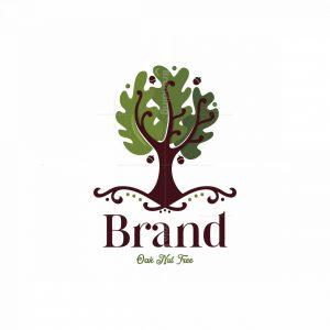 Oak Nut Tree Symbol Logo