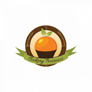 Orange Cupcake Bakery Stamp Logo