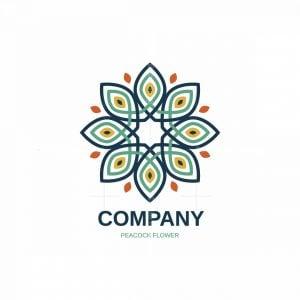 Peacock Flower Symbol Logo