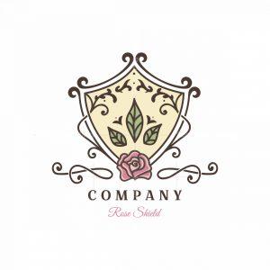 Rose Shield Symbol Logo